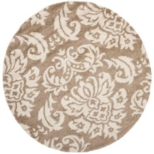 Safavieh Florida Shag Beige/Cream 6 ft. 7 in. x 6 ft. 7 in. Round Area Rug