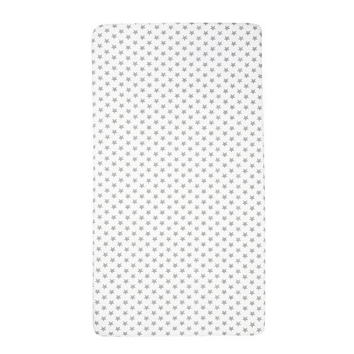 Giggle White with Grey Stars Printed Crib Sheet