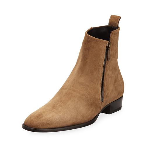 SAINT LAURENT Wyatt 30 Side-Zip Suede Ankle Boot