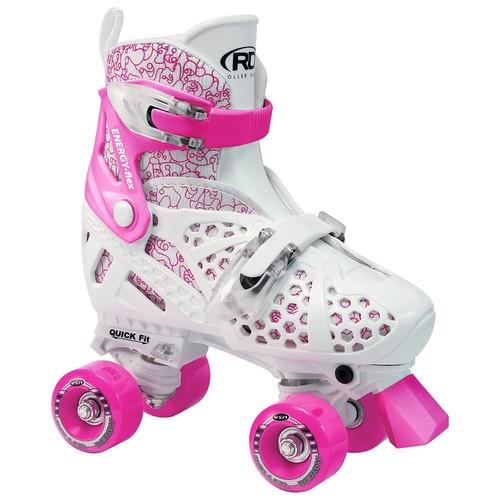 Roller Derby Girl's Trac Star Adjustable Roller Skate, White/Pink [Medium]