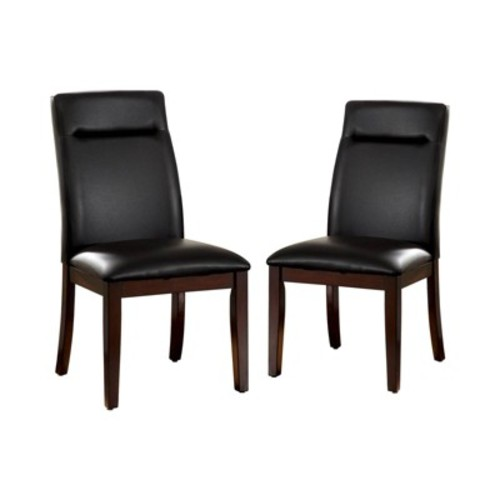 Leatherette Padded Side Chair Wood/Dark Cherry Finish (Set of 2) - Furniture of America