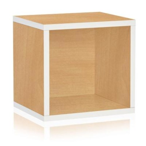 Way Basics Connect System 11.2 x 13.4 x 13.4 zBoard Stackable Open Storage Cube Organizer Unit in Natural/White Grain