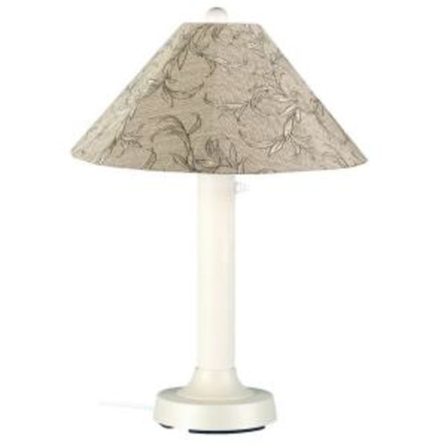 Patio Living Concepts Seaside 34 in. Outdoor White Table Lamp with Bessemer Shade