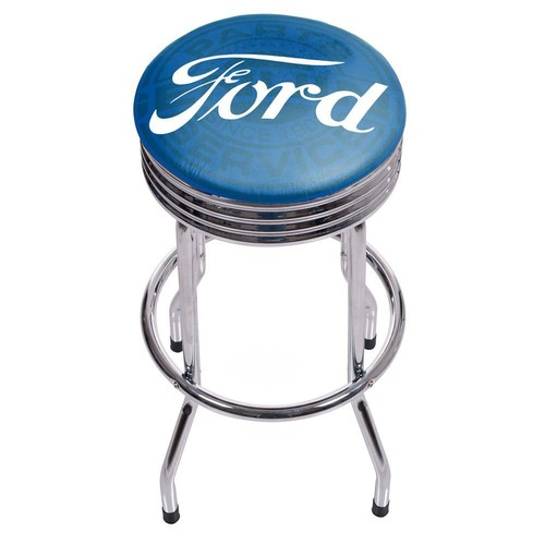 Ford Genuine Parts 29 in. Chrome Swivel Cushioned Bar Stool