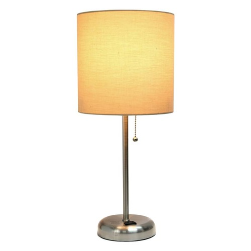 Limelights Stick Lamp with Charging Outlet in Tan