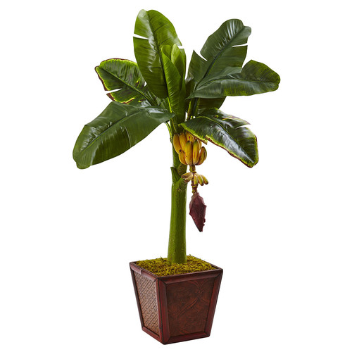 Nearly Natural Banana Tree in Wooden Planter Silk Plant