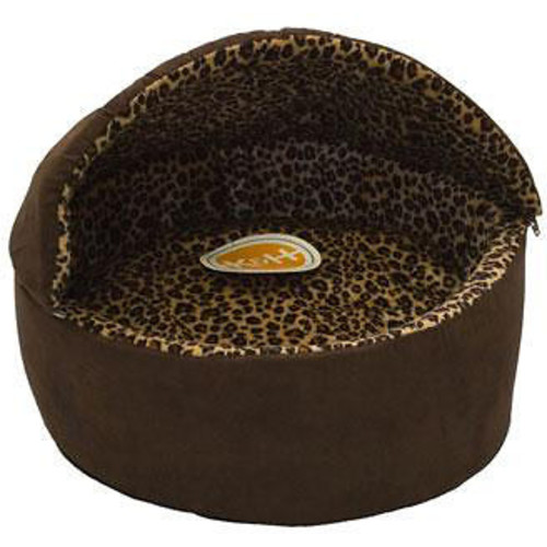 K&H Pet Products Mocha Leopard Thermo Kitty Deluxe Hooded Cat Bed [Small]
