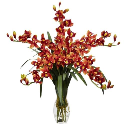 Nearly Natural 1184-BG Cymbidium Orchid, Burgundy