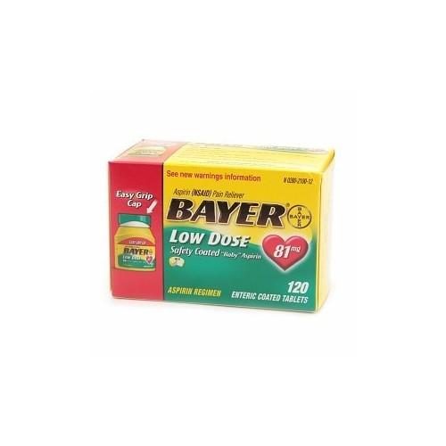 Bayer Aspirin Regimen Low Dose 81mg Enteric Coated Tablets, 120-Count [120 Count]