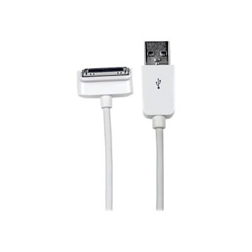 StarTech 6.6' Long Down Angle Apple 30-Pin Male Dock Connector To Male USB Cable, White