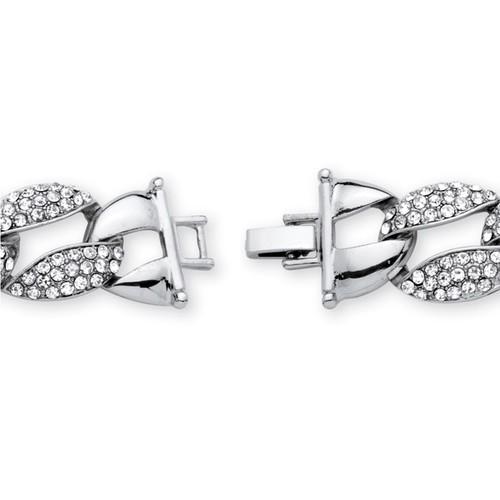 Crystal Curb-Link Bracelet in Silvertone Bold Fashion - Bracelet