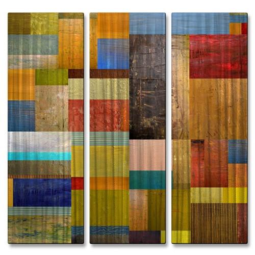 'Pieces III' by Michelle Calkins 3 Piece Graphic Art Plaque Set
