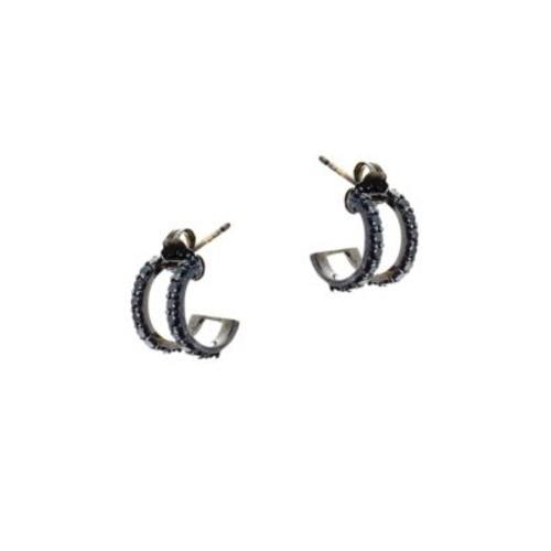 Reckless Black Diamond & 14K Black Gold Huggie Earrings