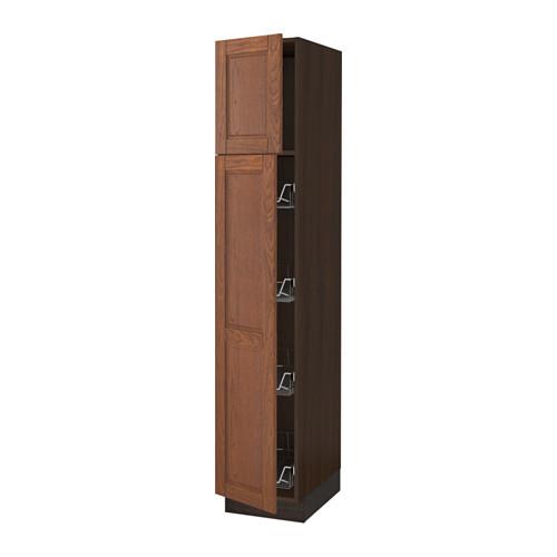 SEKTION High cabinet w/door & wire baskets, brown, Ekestad brown