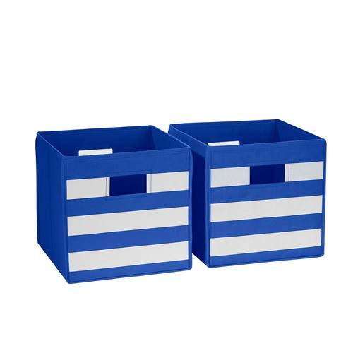 RiverRidge Kids 10.5 in x 10 in. Blue with White Stripe Folding Storage Bin (2-Pack)