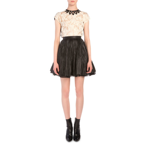 SAINT LAURENT Crinkled Leather Flared Skirt