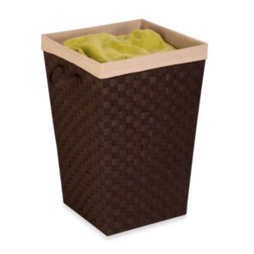 Honey-Can-Do Double Woven Hamper with Liner in Espresso Brown