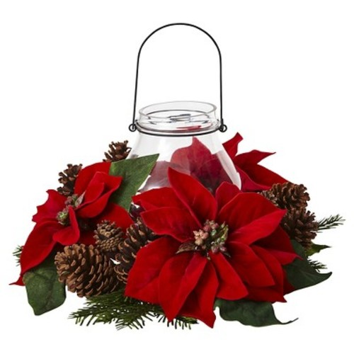 Poinsettia, Pine and Pine Cone Glass Jar Candelabrum - red