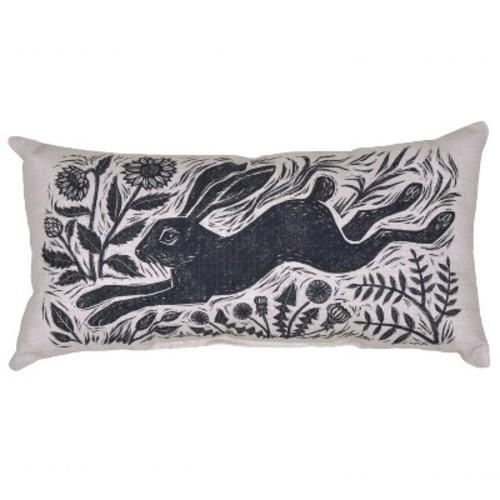 Outdoor Throw Pillow Lumbar - Woodcut Hare - Threshold