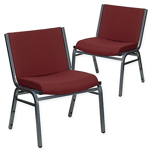 Flash Furniture Big & Tall Fabric Stack Chairs in Burgundy (Set of 2)