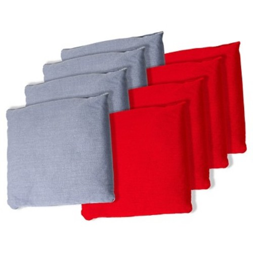 Grey and Red Cornhole Bags, Set of 8
