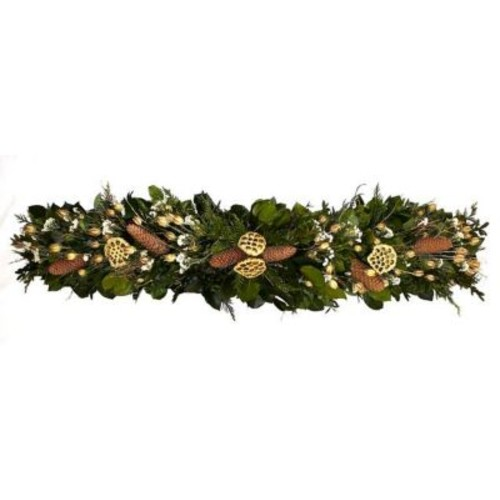 Dried Flowers and Wreaths LLC Preserved Foliage and Pinecone 45'' Wreath