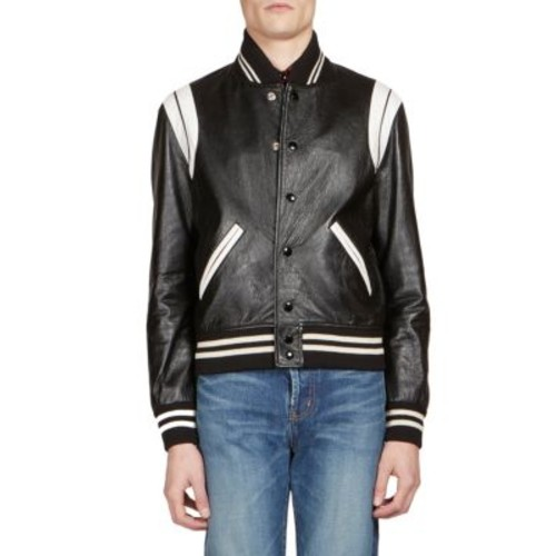 SAINT LAURENT Classic Leather Teddy Jacket