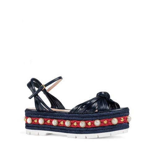 GUCCI Embellished Barbette Platform Sandals