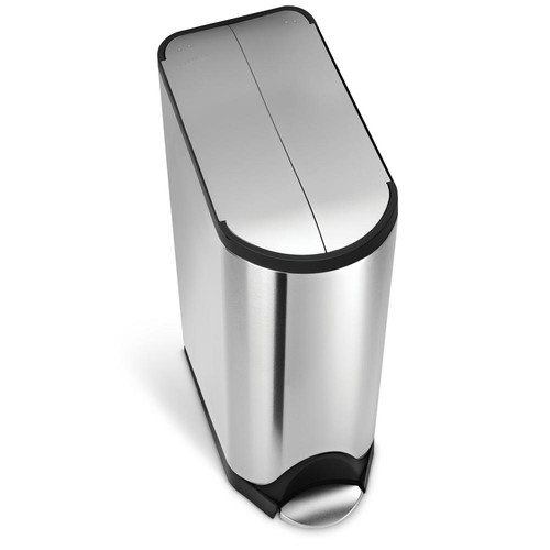 simplehuman 45-Liter Fingerprint-Proof Brushed Stainless Steel Butterfly Step-On Trash Can