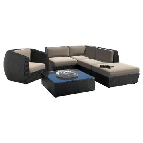 CorLiving Seattle Curved 6-Piece Sectional with Chaise Lounge and Chair Patio Set