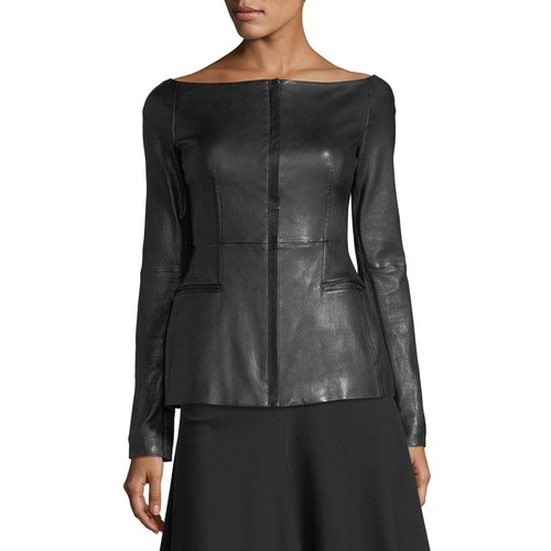 THEORY Off-The-Shoulder Long-Sleeve Fitted Leather Jacket