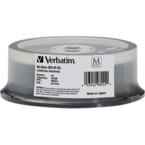 Verbatim 98924 50GB BD-R DL Recordable Media with Branded Surface, Spindle, 25/Pack