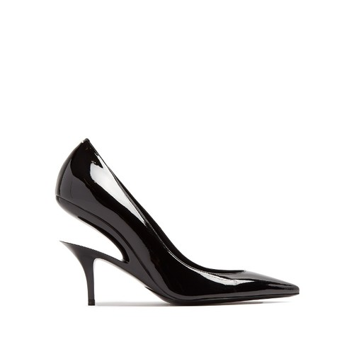 Suspended-heel patent-leather pumps