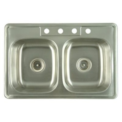 Kingston Brass Carefree 33.63'' x 22'' Double Bowl Self-Rimming Kitchen Sink