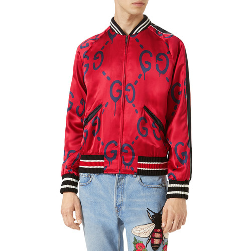 GUCCI Ghost Bomber Jacket, Red
