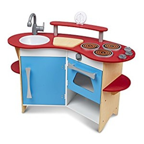 Melissa & Doug Cook's Corner Wooden Pretend Play Toy Kitchen [Standard]