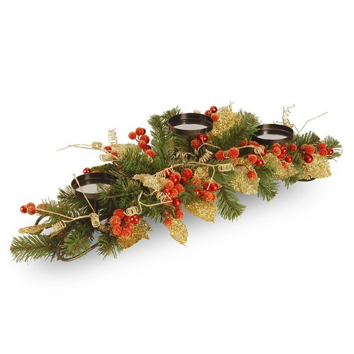National Tree Company Artificial Berry & Leaf Vine 3-Tier Candle Holder