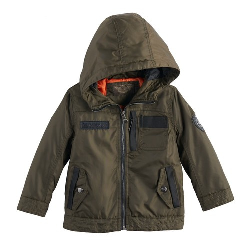 Cotton Twill Hooded Faux Shearling Lined Jacket (Toddler Boys)