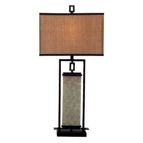 Kenroy Home Plateau 32 in. Oil-Rubbed Bronze and Glass Table Lamp