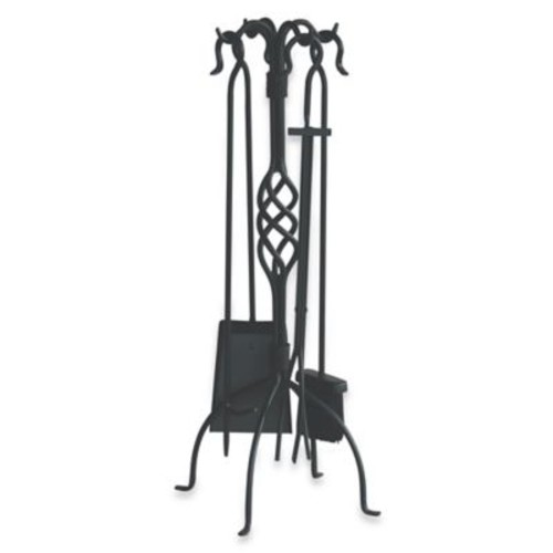 UniFlame F-1053 5-Piece Black Wrought Iron Fireset with Center Weave