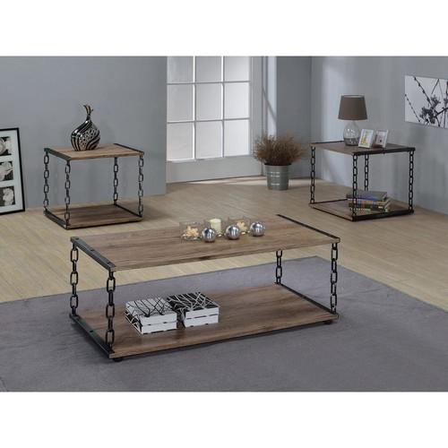 Acme Furniture Jodie Rustic Oak Built-In Storage Coffee Table