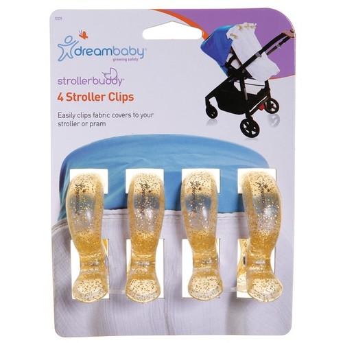 Dreambaby Strollerbuddy Stroller Blanket Clips, 4 Pack, Gold Glitter