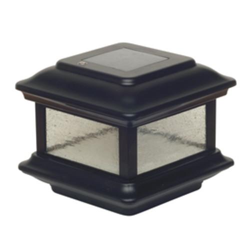 Classy Caps (Fits Common Post Measurement: 4-in x 4-in; Actual: 5-in x 6-in x 6-in) Colonial Black Solar LED Aluminum Deck Post Cap