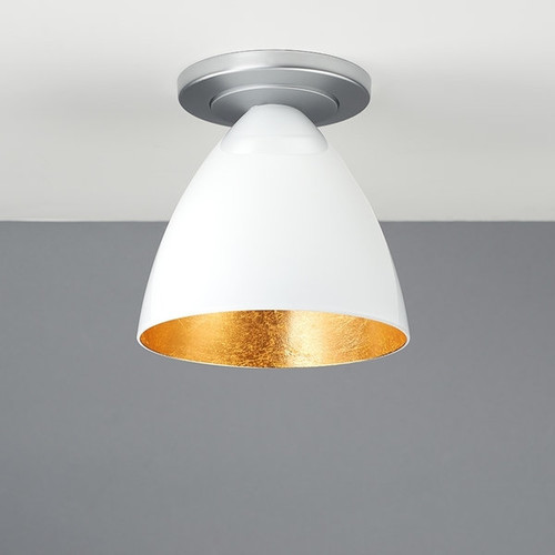 Chrome, Single-Bulb, Ceiling-Mounted Light Fixture with White Shade - White Outer/Gold Inner