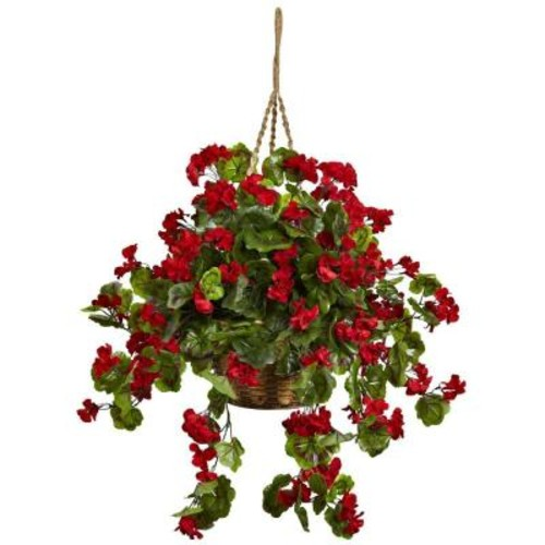 Nearly Natural Geranium Hanging Basket