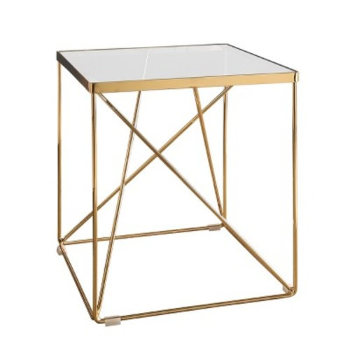 Emma Glass Top Stainless Steel End Table - Gold - Abbyson