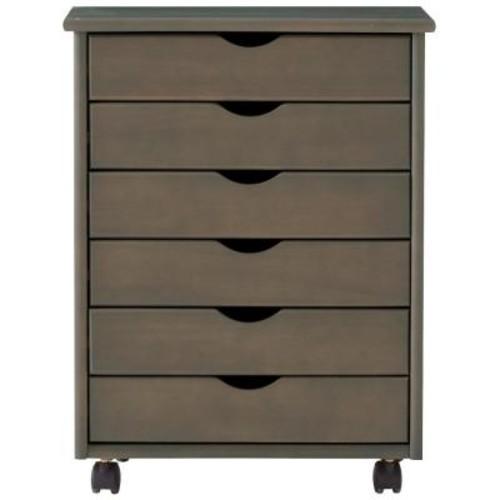 Home Decorators Collection Stanton Wide 6-Drawer Storage Cart in Antique Grey