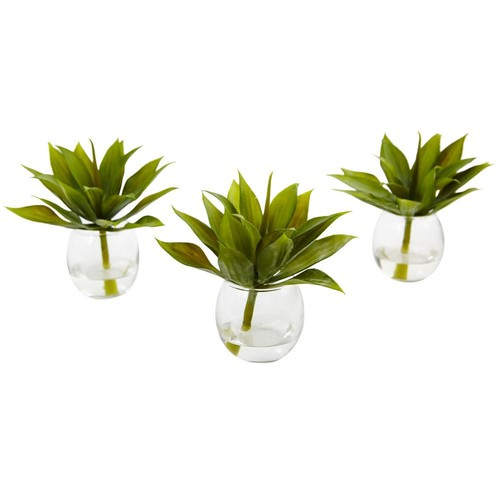 Nearly Natural Agave Succulent with Vase (Set of 3)