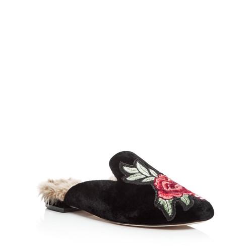 Women's Jean Embroidered Velvet Loafer Mules