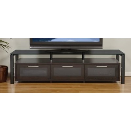 Plateau Decor Series 71'' TV Stand; Espresso and Black with Black Glass